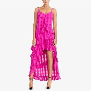 Rachel Roy Remi Pink Ruffle Maxi Dress 0